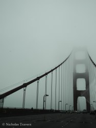 Crossing the Golden Gate Bridge in fog, so long San Fransisco, hello Marin