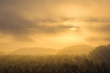 mt Hood emerges as the sun burns off the fog