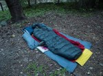 tarp, z-lite pad, sleeping bag, blanket for dew - night probable in the 40's @ ~2000ft elevation