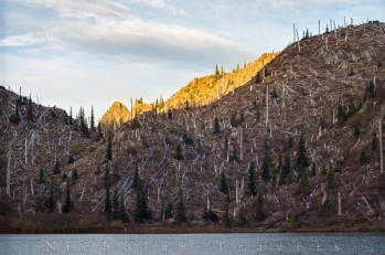 sunset glow on an unnamed 5012 ft peak beyond Panhandle Lake