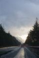 road - glowing rain